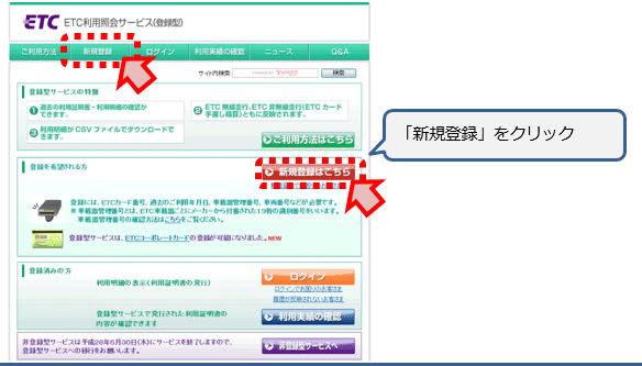 ETC利用照会サービス新規登録画面